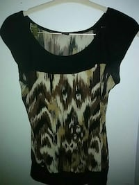 women's black, white, and brown scoop-neck cap-sleeved blouse Seattle, 98109
