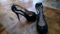 pair of black open-toe ankle strap heels Toronto, M6H