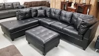 Brand new in box gel leather sectional sofa at wholesale price with free ottoman Mississauga