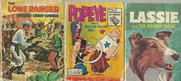 3 BIG LITTLE BOOKS 1968 Lassie and the Shabby Sheik George Elrick Whitman  1973 Popeye and Queen Olive Oil 1968 The Lone Ranger Outwits Crazy Cougar ++++++++++++++++++++++++++++++++++++++ Pick-up in Newmarket (ref bx#3)