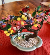 VINTAGE JADE MULTI COLORED FLOWERS BONSAI TREE 218 mi