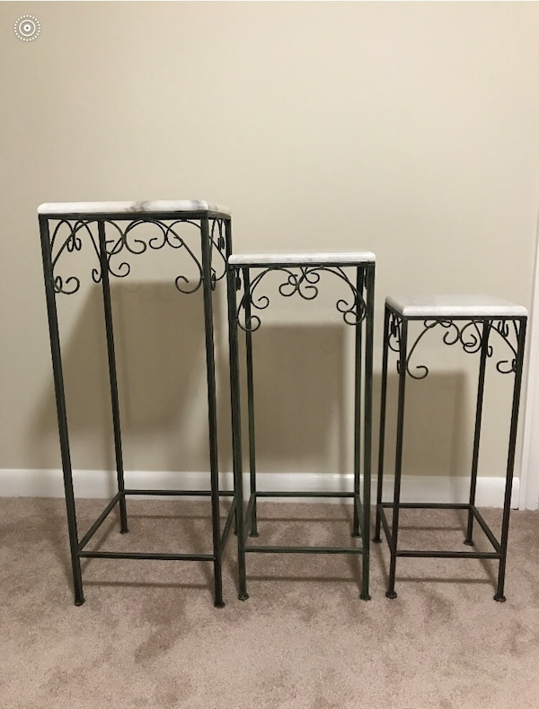 Three metal framed marble top tables