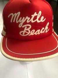 VTG MYRTLE BEACH 70s 80s Red Trucker Hat Cap Snapback THREE SIDE BARS STRIPES Washington, 20018