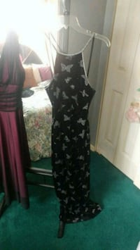 Med-Large black Valour Spaghetti strap gown with sparkly butterflys