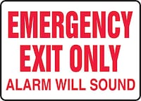 """EMERGENCY EXIT ONLY ALARM WILL SOUND"" Plastic Safety Sign Toronto, M6N 3V9"