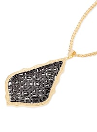 NWT Kendra Scott Aiden Gold Long Pendant Necklace In Gunmetal Filigree Austin