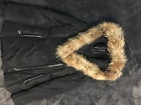 black coat with real fur for women