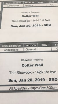 Colter Wall Tickets - Seattle showbox Portland, 97219
