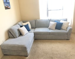 2-Piece Sectional Sleeper Sofa and Left Facing Chaise Sky Blue