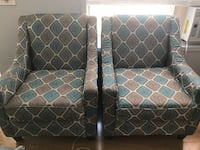 2 Embroidered Blue-Grey-White Sofa Arm Chairs Set Calgary, T3J 3S5
