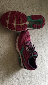 Pair of pink and-green running shoes. Women's size 8 Stafford, 22554