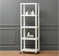 CB2 Go-Cart White five shelf rolling bookcase Rockville, 20852