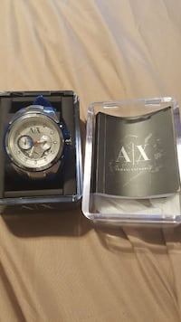 round silver AX chronograph watch with silver link Omaha, 68116