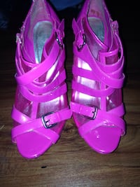 pair of pink open-toe strappy heeled sandals 618 mi