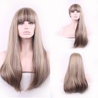 Blond Synthetic Wig with Bangs