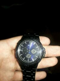round black chronograph watch with black link bracelet Toms River, 08753
