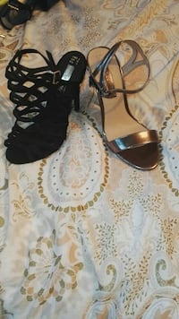 black open-toe strappy stiletto and gold open-toe ankle-strap heels Liverpool, L5 0RF