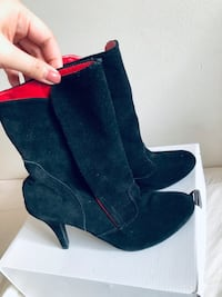 black-and-red suede heeled mid-calf boots Edmonton, T5T 2K7