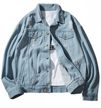 blue chambray distressed button-up jacket