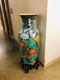 """42"""" tall ceramic Chinese vase with stand"""