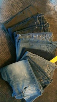 two blue and gray denim bottoms Newmarket