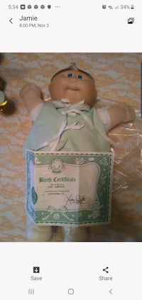 Cabbage patch doll with birth certificate Hedgesville, 25427