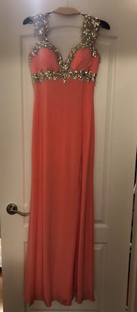 Coral gown with a slit  Toronto, M4Y 1G2