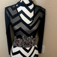 (NWT) SHEER BLACK TOP WITH FLORAL DETAIL Lake Forest