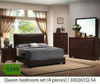 black wooden bed frame with mattress La Mirada, 90638