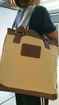 women's brown and white  shoulder bag
