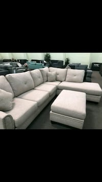 white fabric sectional sofa with ottoman Temple City, 91780