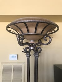 Wrought iron, copper tinted floor lamp