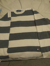white and black Tommy Hilfiger sweater