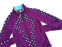 IVIVVA By LULULEMON Girls Sports Jacket Thump holes Purple Teal Polka Dot Girls Size 14 Alexandria, 22304