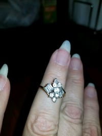 White topaz ring, gold plated,  size 8