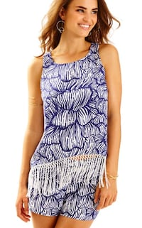 Navy Blue and White Lilly Pulitzer Shorts and Fringed Tank Gaithersburg