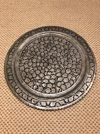 Persian hand engraved round tray North Potomac