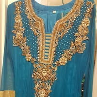 Turquoise and gold anarkali Pakistani dress Washington