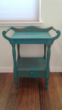 Antique shabby chic distressed turquoise wash stand turquoise wash stand table  Renton, WA, USA