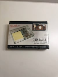 Cristalle note, pen and clip holder & glass pencil holder  Toronto, M3C