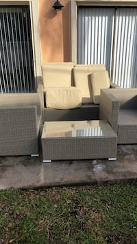 Gray and beige outdoor furniture set
