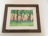 Framed forest watercolor painting