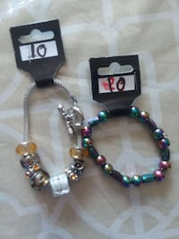 two assorted bead charm bracelerts