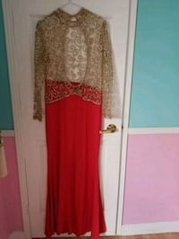 women's red and brown long sleeve dress