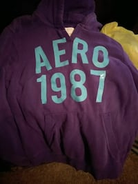 purple and green Aeropostale pullover hoodie