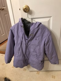 Lands end purple full-zip winter hoodie kids size s