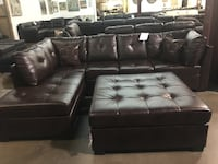 Bonded leather sectional. Brand new. Colors: Black and brown. Ottoman $200 extra. Irving, 75063