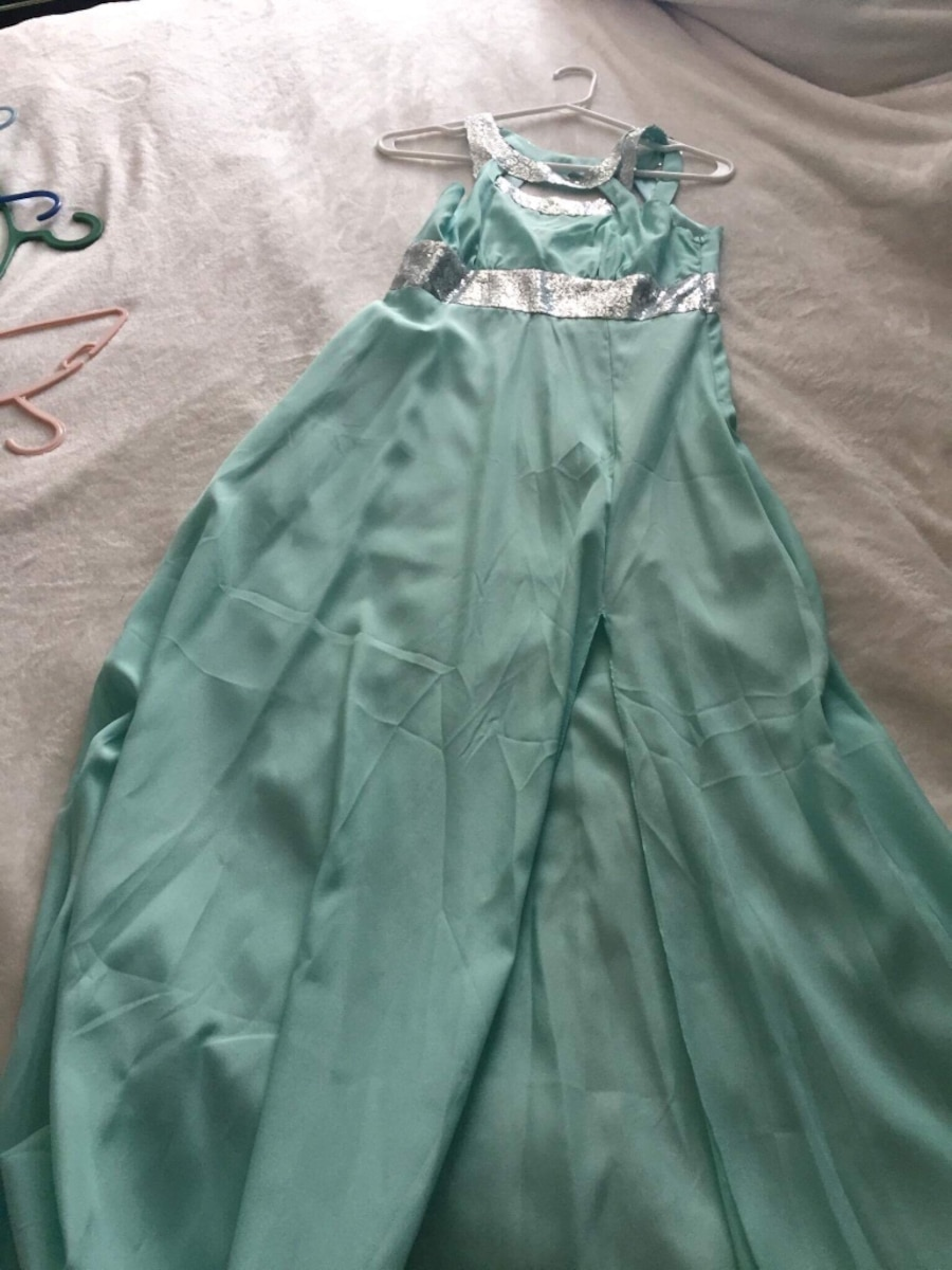 teal and gray sleeveless cowl neck dress - Ontario