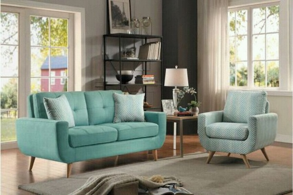 Deryn Teal Loveseat with Pillows | 8327