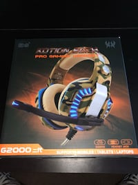 Pro Gaming Headset with LED lights and aux adapter